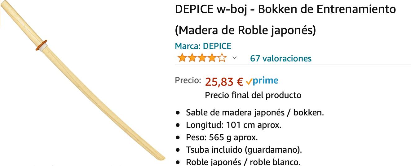 Bokken roble blanco japonés amazon